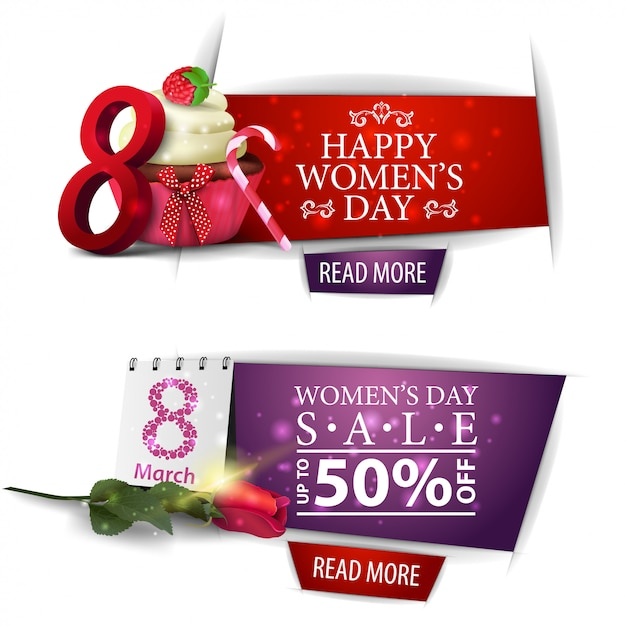 Women's day modern discount banner with cupcake and rose Premium Vector