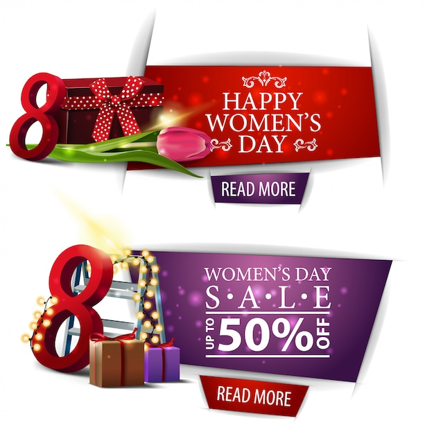 Women's day modern discount banner with gifts, Premium Vector