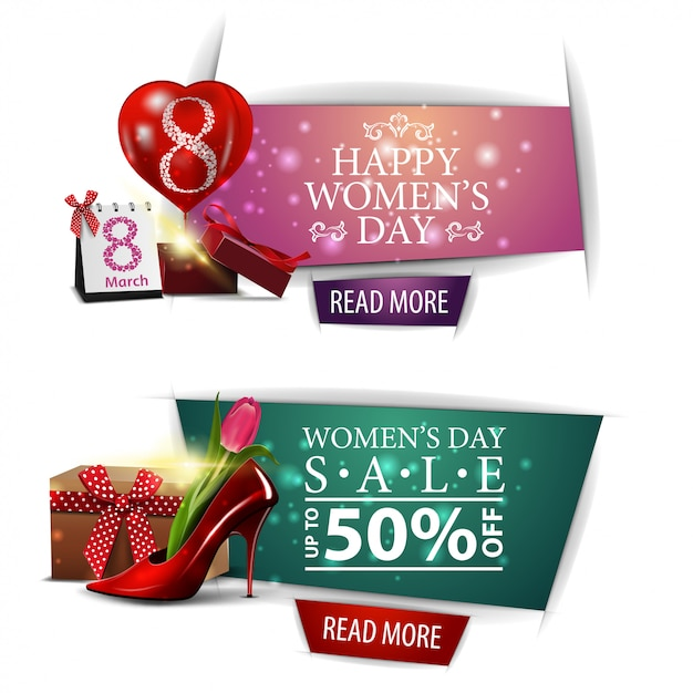 Women's day modern discount banner with gifts Premium Vector