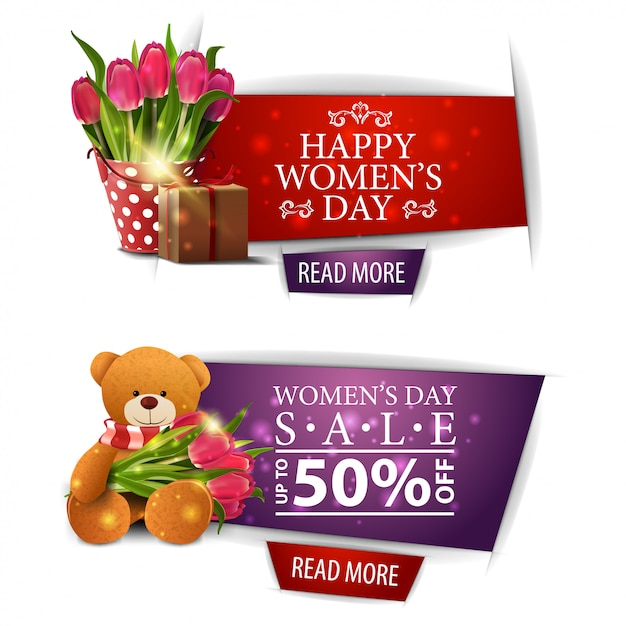 Women's day modern discount banners Premium Vector