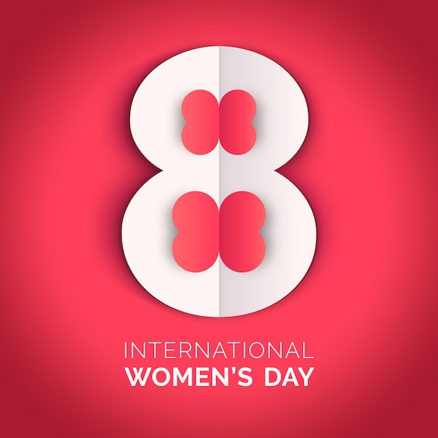 Women's day in paper style wallpaper Free Vector