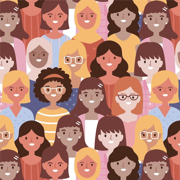 Women's day pattern with women face Free Vector