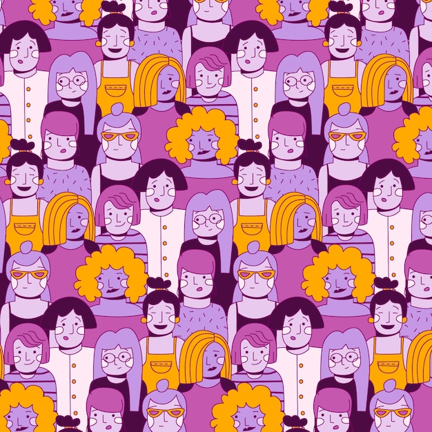 Women's day pattern with women faces Free Vector