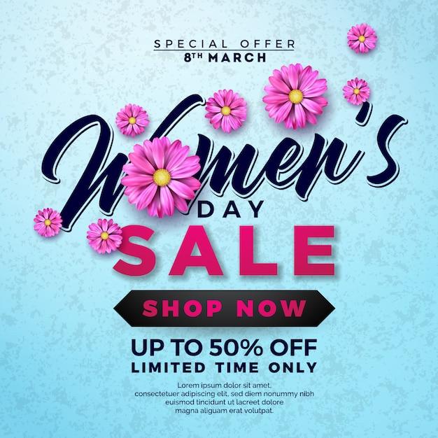 Women's day sale design with flower on blue background Premium Vector
