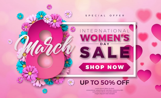Women's day sale design with flower on pink background Premium Vector