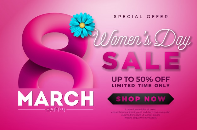 Women's day sale design Premium Vector