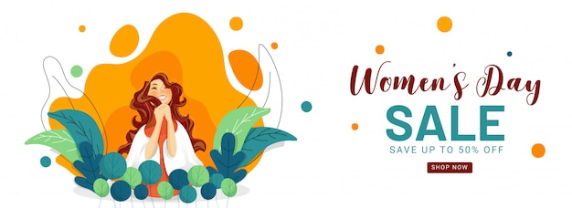 Women's day sale header or banner design with 50% discount offer and cheerful young girl on nature abstract background. Premium Vector