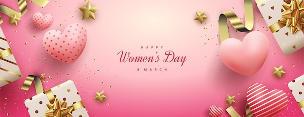 Women's day sale with 3d gift boxes and love balloons. Premium Vector