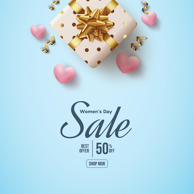 Women's day sale with 3d love balloon and gift box Premium Vector