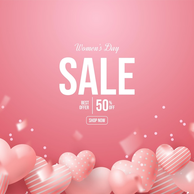 Women's day sale with pink 3d love balloons. Premium Vector