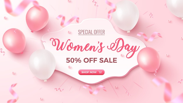 Women's day special offer. 50% off sale banner   with white custom shape, pink and white air balloons, falling foil confetti on rosy  . women's day template. Premium Vector
