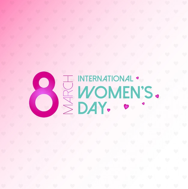 Women's day typogprahic card with pink background vector  Free Vector