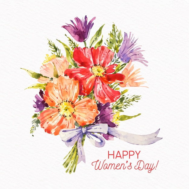 Women's day watercolor bouquet of flowers Free Vector