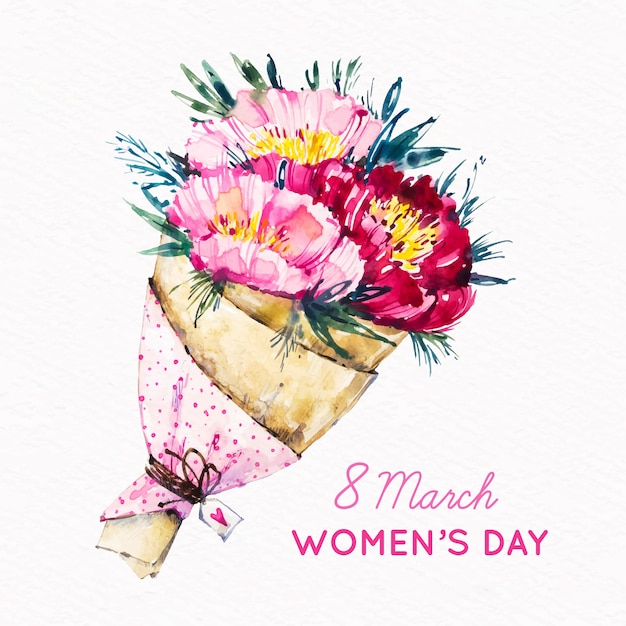 Women's day watercolor bouquet of pink flowers Free Vector