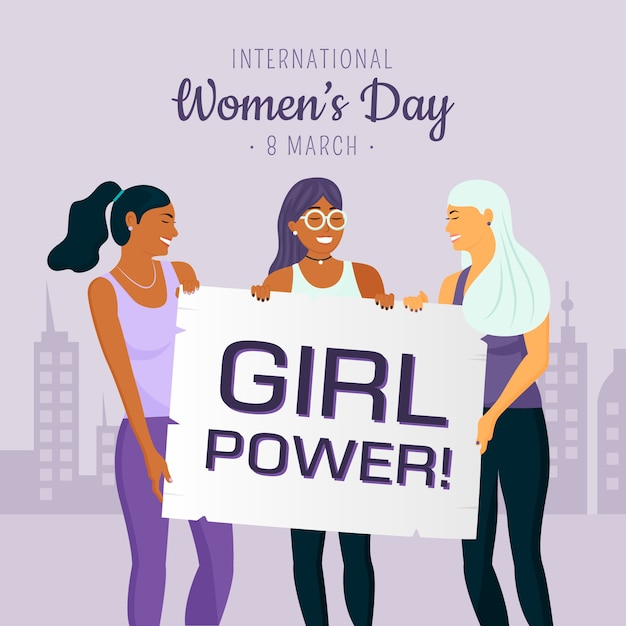 Women's day with girl power Free Vector