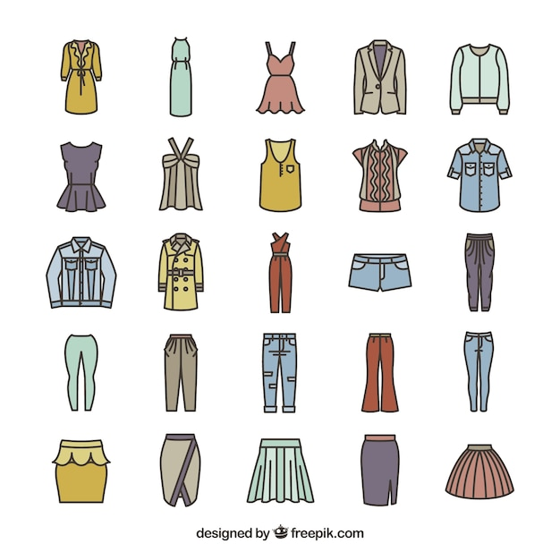 Women's fashion icons Premium Vector