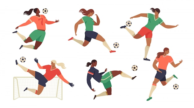 Women's football soccer players fans set of isolated team. Premium Vector