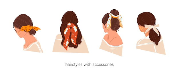 Women's hairstyle with accessories on an isolated background. hairstyles with a scarf. instructions for using the scarf. Premium Vector