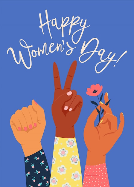 Women´s hand with her fist raised up Premium Vector