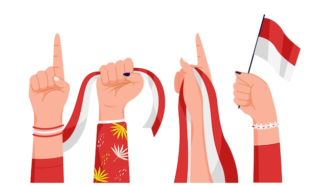 Women's hands holding the indonesia flag Premium Vector
