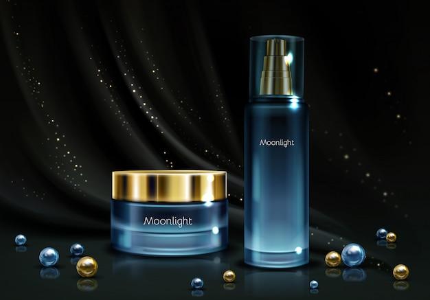 Women's night cosmetics line Free Vector