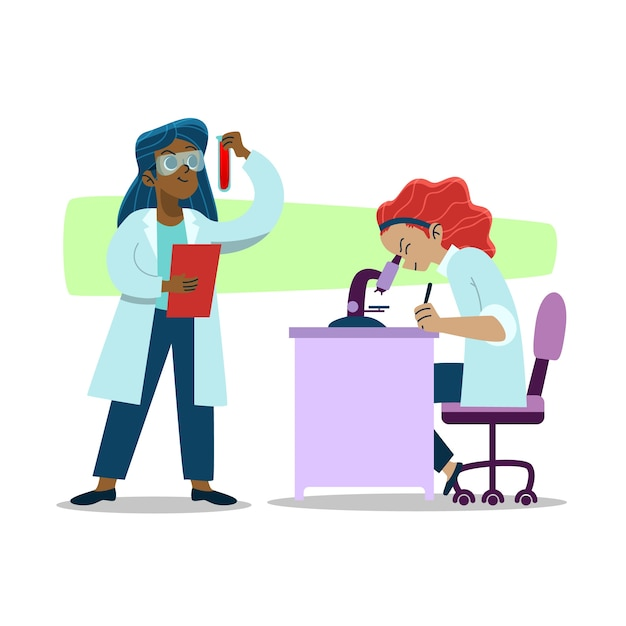 Women scientist working together in lab Free Vector