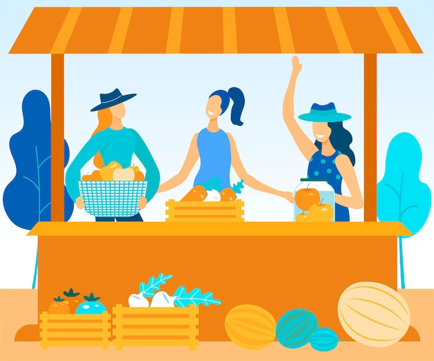 Women sell at farmers fair vegetables and fruits Premium Vector