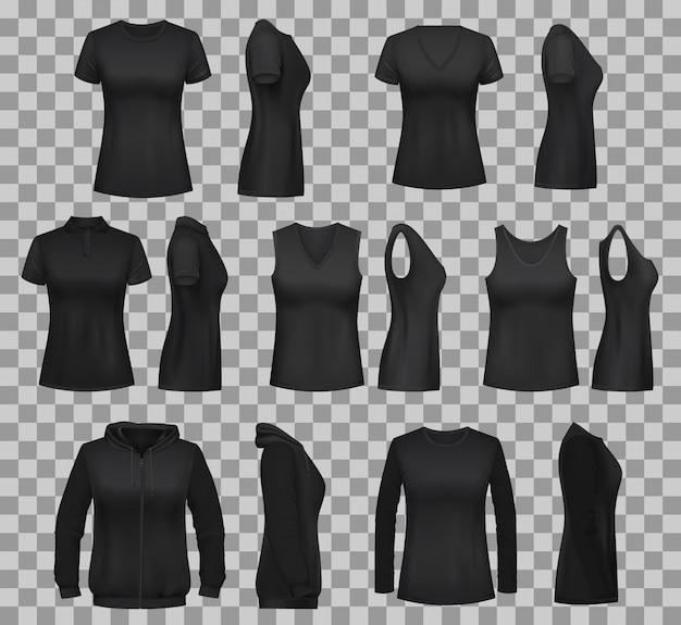 Женские рубашечные шаблоны с черными футболками и поло Premium векторы