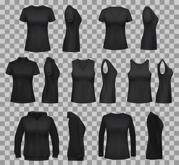 Women shirt templates with black t-shirts and polo Premium Vector