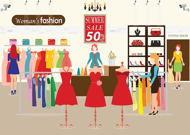 Women shopping in a clothing store with dummies show. Premium Vector