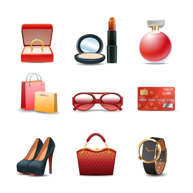 Women shopping realistic decorative icon set Free Vector