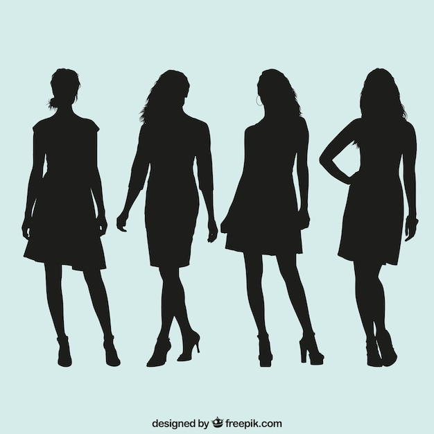 Women Silhouettes Collection Vector Free Download