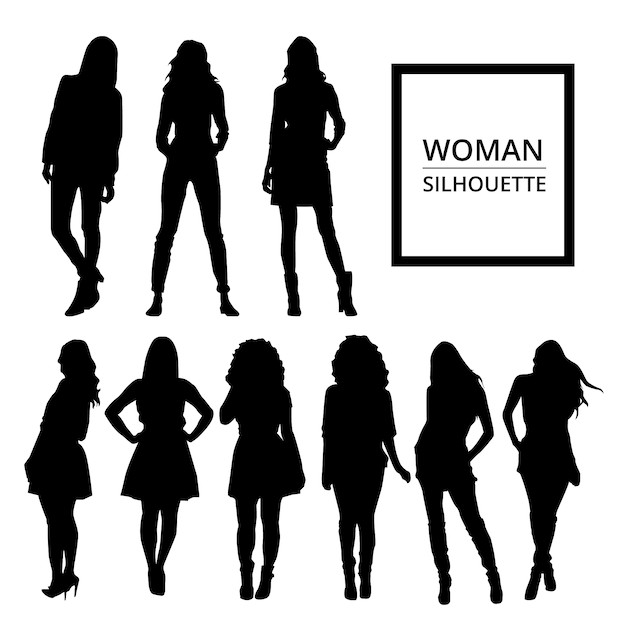 Women silhouettes in casual clothes Free Vector