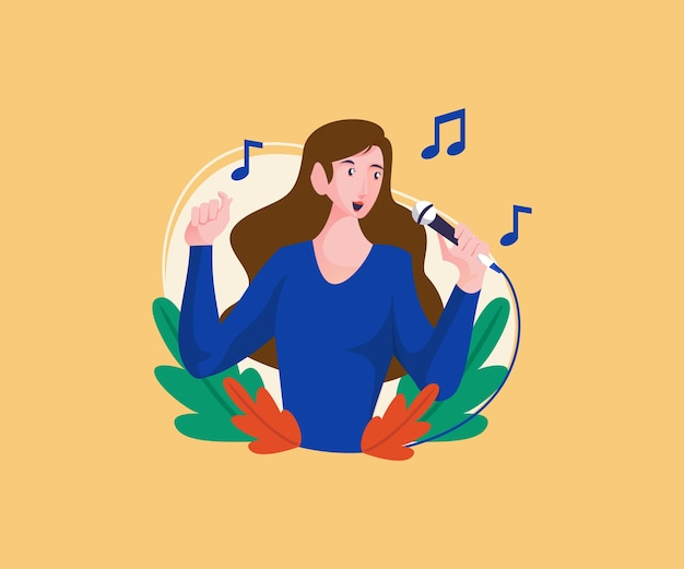 Women sing in beautiful tones Premium Vector