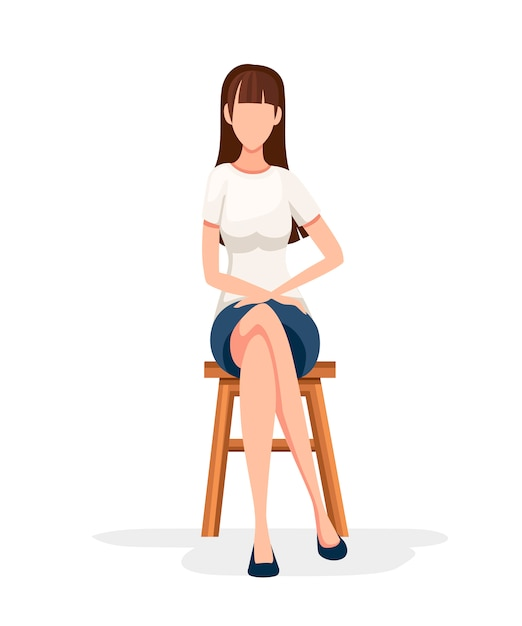 Women sit on wooden chair. no face character . girl sit with crossed legs in formal wear.   illustration  on white background Premium Vector