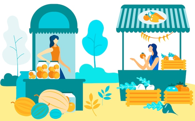 Women sits at shelves  sell crops farmers market Premium Vector
