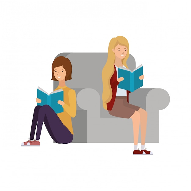 Women sitting on chair with book in hands Premium Vector