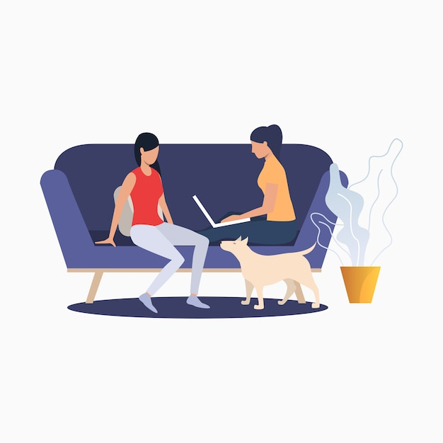 Women sitting on couch and relaxing at home Free Vector