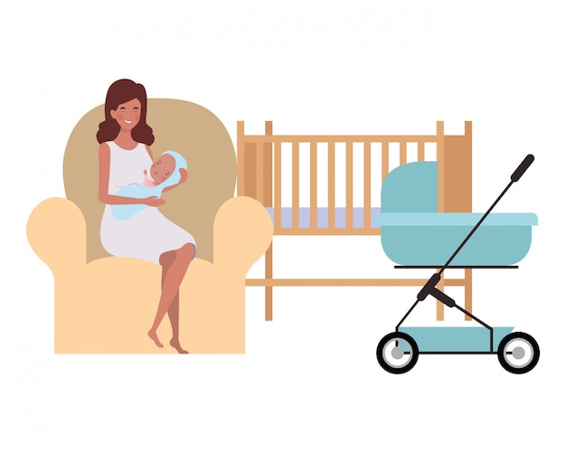 Women sitting on the couch with a newborn baby in her arms Premium Vector