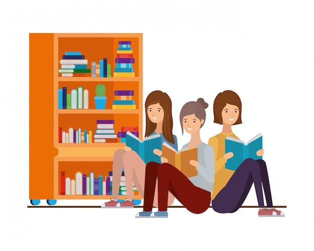 Women sitting with book in hands Premium Vector