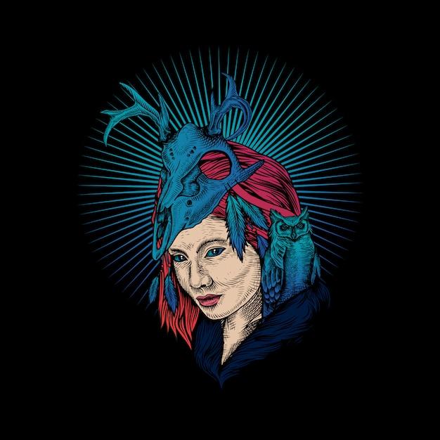 女性の頭蓋骨とフクロウのロゴ Premiumベクター