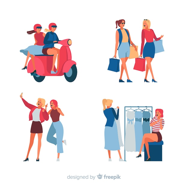 Women spending time together with variety of activities Free Vector