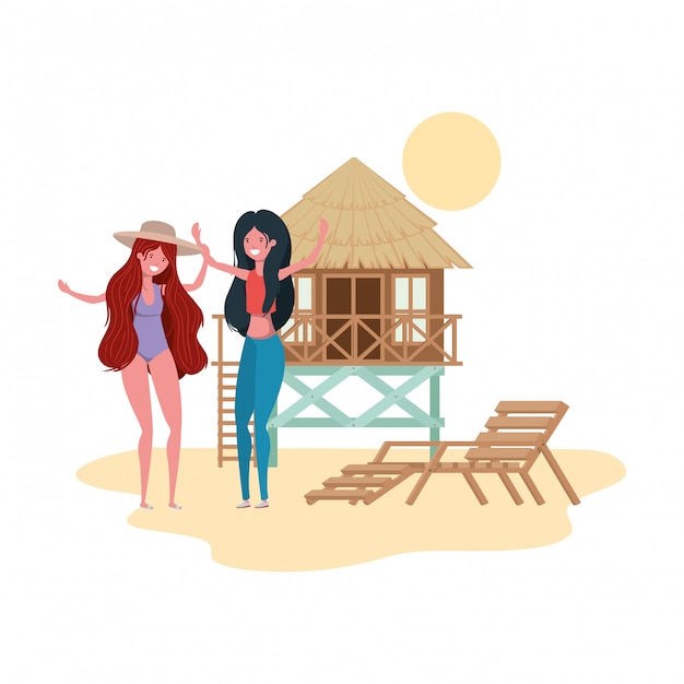Women standing in the beach with beach house Premium Vector