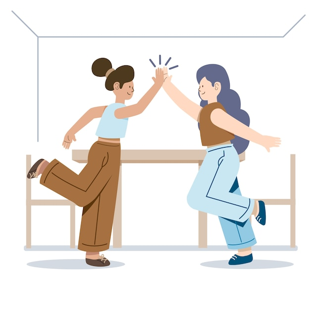 Women standing sideways and giving high five Free Vector