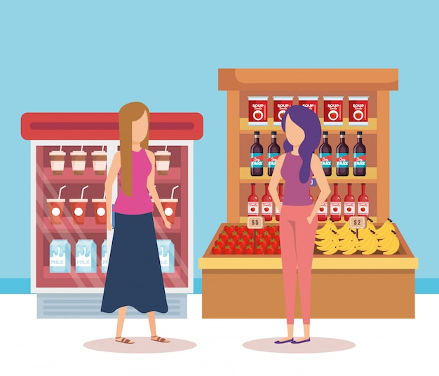 Women in supermarket shelving with products Free Vector