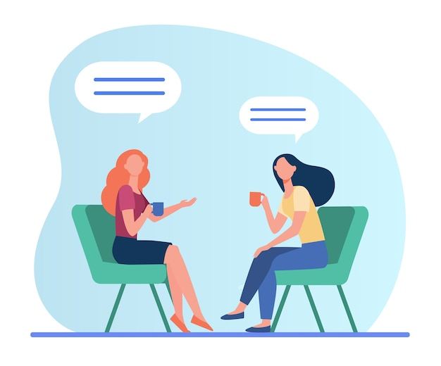 Women talking over cup of coffee. female friends meeting in coffee shop, chat bubbles flat vector illustration. friendship, communication Free Vector