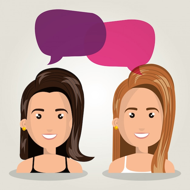 Women talking dialogue isolated Premium Vector