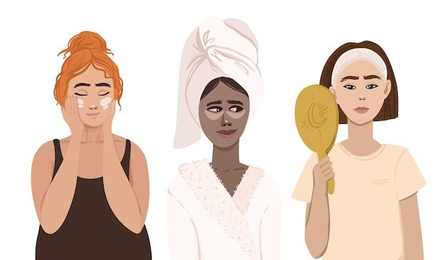 스킨 케어 루틴에 크림과 거울을 사용하는 여성 무료 벡터