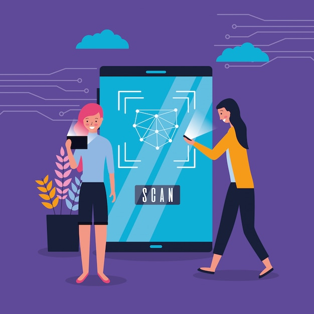 Women using smartphone face scan biometric Free Vector
