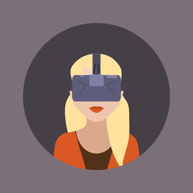 Women in the virtual reality headset Premium Vector